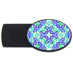 Stylized Floral Check Seamless Pattern Usb Flash Drive Oval (4 Gb)  by dflcprints