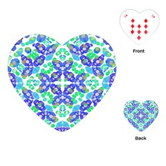Stylized Floral Check Seamless Pattern Playing Cards (heart)  by dflcprints
