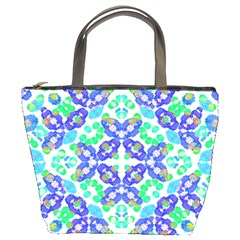 Stylized Floral Check Seamless Pattern Bucket Bags by dflcprints