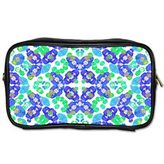 Stylized Floral Check Seamless Pattern Toiletries Bags by dflcprints