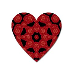 Stylized Floral Check Heart Magnet by dflcprints