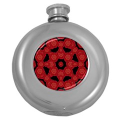 Stylized Floral Check Round Hip Flask (5 Oz) by dflcprints