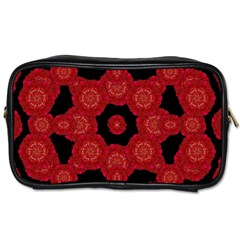 Stylized Floral Check Toiletries Bags by dflcprints