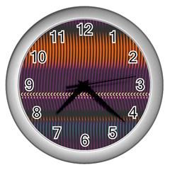 Curvy Stripes       wall Clock (silver) by LalyLauraFLM