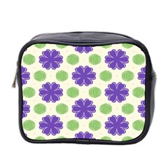 Purple Flowers Pattern        Mini Toiletries Bag (two Sides) by LalyLauraFLM