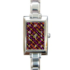 Stylized Floral Stripes Collage Pattern Rectangle Italian Charm Watch by dflcprints