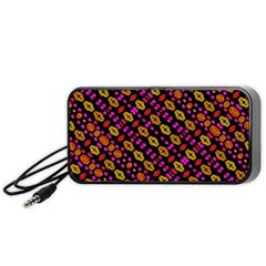 Stylized Floral Stripes Collage Pattern Portable Speaker (black)  by dflcprints
