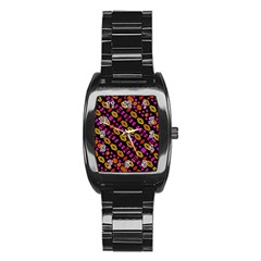 Stylized Floral Stripes Collage Pattern Stainless Steel Barrel Watch by dflcprints