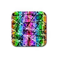 Multicolor Geometric Grunge Rubber Square Coaster (4 Pack)  by dflcprints