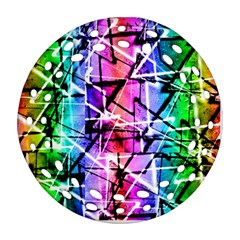 Multicolor Geometric Grunge Ornament (round Filigree)  by dflcprints