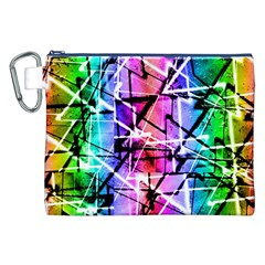 Multicolor Geometric Grunge Canvas Cosmetic Bag (xxl)  by dflcprints