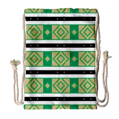Green Rhombus And Stripes           Large Drawstring Bag by LalyLauraFLM