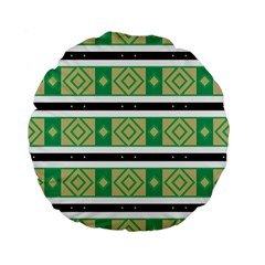 Green Rhombus And Stripes           	standard 15  Premium Flano Round Cushion by LalyLauraFLM