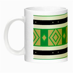 Green Rhombus And Stripes           Night Luminous Mug by LalyLauraFLM