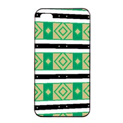 Green Rhombus And Stripes           			apple Iphone 4/4s Seamless Case (black) by LalyLauraFLM