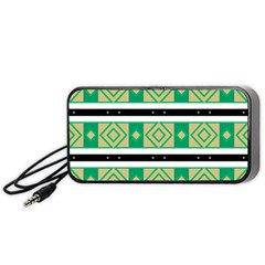 Green Rhombus And Stripes           Portable Speaker by LalyLauraFLM
