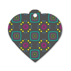 Squares And Circles Pattern 			dog Tag Heart (one Side) by LalyLauraFLM