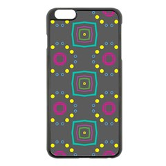 Squares And Circles Pattern apple Iphone 6 Plus/6s Plus Black Enamel Case by LalyLauraFLM