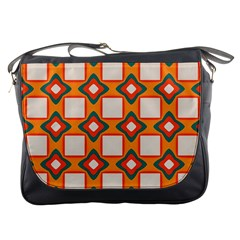 Flowers And Squares Pattern     			messenger Bag by LalyLauraFLM