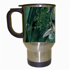 Awesome Seadraon In A Fantasy World With Bubbles Travel Mugs (white) by FantasyWorld7