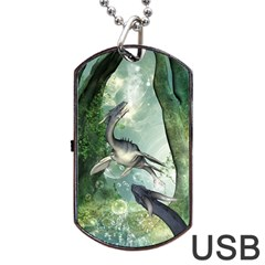 Awesome Seadraon In A Fantasy World With Bubbles Dog Tag Usb Flash (one Side) by FantasyWorld7