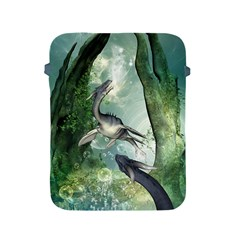 Awesome Seadraon In A Fantasy World With Bubbles Apple Ipad 2/3/4 Protective Soft Cases by FantasyWorld7