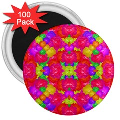 Multicolor Floral Check 3  Magnets (100 Pack) by dflcprints