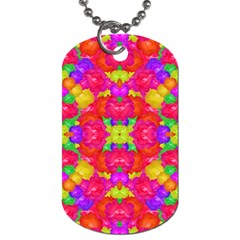 Multicolor Floral Check Dog Tag (one Side) by dflcprints
