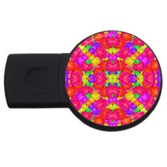 Multicolor Floral Check Usb Flash Drive Round (4 Gb)  by dflcprints