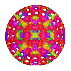 Multicolor Floral Check Ornament (round Filigree)  by dflcprints