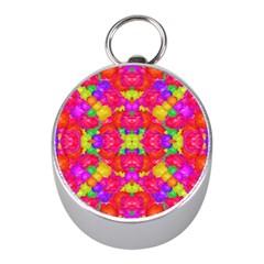 Multicolor Floral Check Mini Silver Compasses by dflcprints
