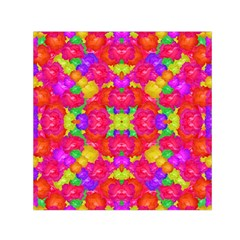 Multicolor Floral Check Small Satin Scarf (square)  by dflcprints