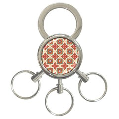 Floral Pattern  			3 Ring Key Chain by LalyLauraFLM