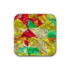 Colorful 3d Texture   			rubber Square Coaster (4 Pack by LalyLauraFLM