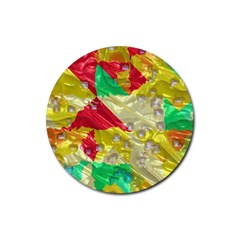 Colorful 3d Texture   			rubber Coaster (round) by LalyLauraFLM