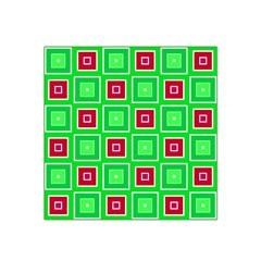 Green Red Squares Pattern    Satin Bandana Scarf by LalyLauraFLM