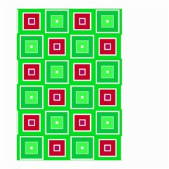 Green Red Squares Pattern    Small Garden Flag by LalyLauraFLM