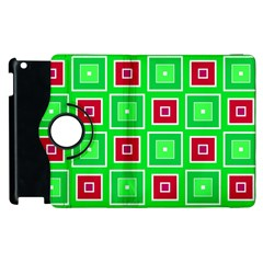 Green Red Squares Pattern    			apple Ipad 2 Flip 360 Case by LalyLauraFLM