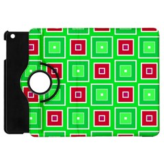 Green Red Squares Pattern    			apple Ipad Mini Flip 360 Case by LalyLauraFLM