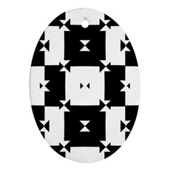 Black And White Check Pattern Ornament (oval)  by dflcprints