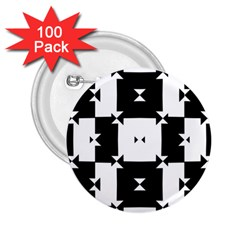 Black And White Check Pattern 2 25  Buttons (100 Pack)  by dflcprints