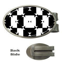 Black And White Check Pattern Money Clips (Oval)  by dflcprints