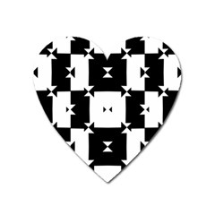 Black And White Check Pattern Heart Magnet by dflcprints