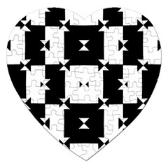 Black And White Check Pattern Jigsaw Puzzle (heart) by dflcprints