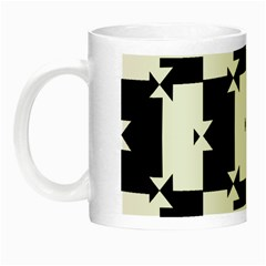 Black And White Check Pattern Night Luminous Mugs by dflcprints