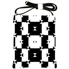 Black And White Check Pattern Shoulder Sling Bags by dflcprints