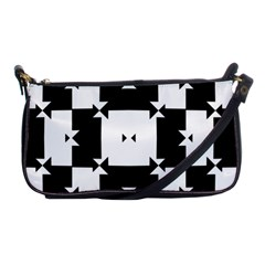 Black And White Check Pattern Shoulder Clutch Bags by dflcprints