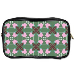 Pink Brown Flowers Pattern     Toiletries Bag (two Sides) by LalyLauraFLM