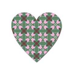 Pink Brown Flowers Pattern     			magnet (heart) by LalyLauraFLM