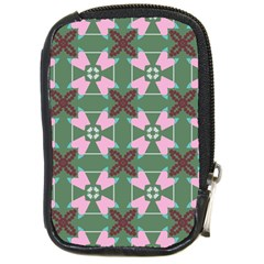 Pink Brown Flowers Pattern     			compact Camera Leather Case by LalyLauraFLM